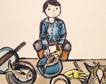 Vietnam. Art. Print. Watercolour. My favourite fishmonger, Hoi An, Vietnam