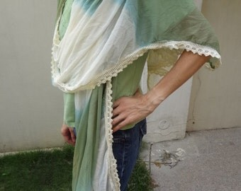 Large Fading Ivory and Moss Green with Lace Trim Chiffon Scarf Wrap - Mojave H808