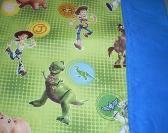 Disney Pixar - Toy Story Pillowcase with blue trim - Buzz, Woody, Rex, Jessie, Bullseye - Fits Standard and Queen size pillows
