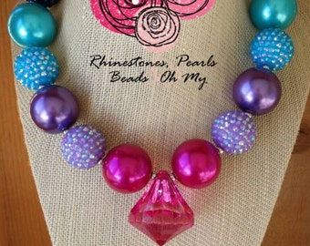 Customer Appreciation Chunky  Bubble Gum Necklace Bow Boutique