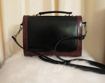 Vintage Caiman Black and Brown Leather Handbag Shoulder Bag Crossbody Bag Messenger Bag