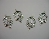 Silver Plated Brass Art Deco Earring Finding Drop Stamping - 4