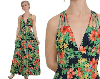 Floral Cage Bodice 70s Evening Gown / S