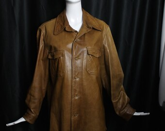 1940s vintage mens ABERCROMBIE & FITCH deep brown tobacco supple leather work wear JACKET shirt 42