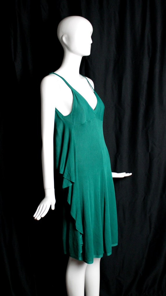 Vintage chanel teal blue green mesh sheer rayon knit deep v for I see both sides like chanel shirt
