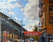 Original Oil Painting, Uptown Afternoon, Under the El, New York City Landscape,16x20 Oil on Canvas, Impressionist Fine Art, Signed Original