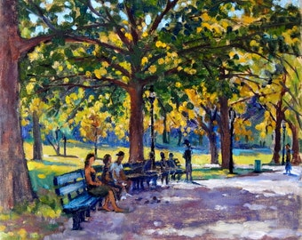 Dappled Light, Inwood Hill Park, NYC. Oil Landscape Painting on Canvas, 10x12 Impressionist Plein Air Fine Art, Signed Original Realist Oil