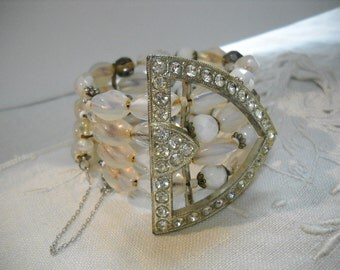 Reworked Vintage Cuff Bracelet Milk Glass Smoke Crystals Art Deco Rhinestone Buckle Art Glass Beads FREE SHIPPING