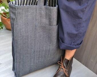 UNION STREET Original design, Hand made, Reversible Shoulder Tote, Mens cotton tote, Blue cotton tote, Blue and white cotton bag, Womens bag