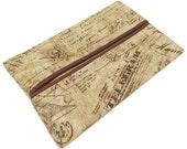 Travel Tissue Holder, French Script,  Kleenex Holder, Fathers Day Gift, Pocket Tissue Holder, Fabric Tissue Case