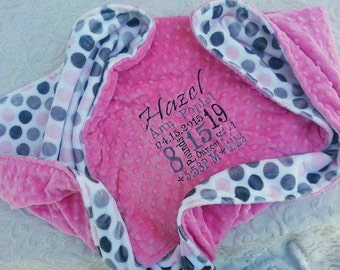 Pink Baby Blanket - Personalized baby blanket - Hot pink minky dimple with jumbo dot baby pink minky print