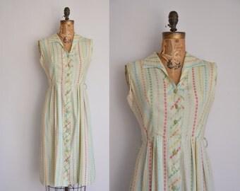 1960s dress/vintage 60s dress/pistachio green cotton dress
