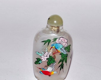 Vintage Hand Painted Glass Snuff Bottle Reverse Painted Inside With Birds and Flowers