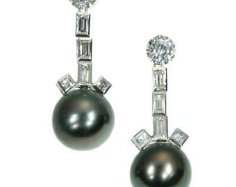 Black pearl earrings - Vintage diamond pearl platinum drop earrings