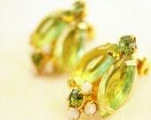 Lime Green rhinestone earrings, clip earrings