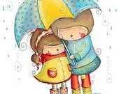 Rainy Day kids - clear acrylic stamp by Rachelle Ann Miller