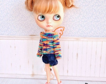 Colored Butterfly Sweater for Blythe Doll 1