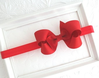 Baby Valentine Headband, Red Baby Bow Headband, 3 inch Hair Bow, Red Baby Headband, Newborn Headband