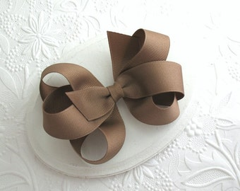Toddlers, Girls Taupe / Dark Khaki Loopy Boutique Hair Bow, School Uniform, Thanksgiving Accessories