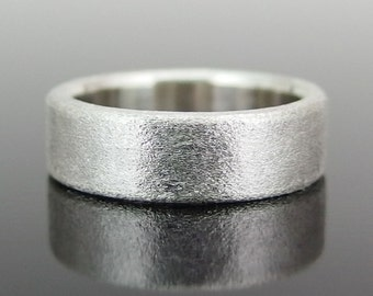 Rectangular Profile Sterling Silver Band Ring, Silver Wedding Band, Silver Wedding Ring, 6 x 2 mm, Heavily Brushed Finish