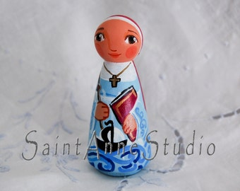 St Monica of Tagaste Catholic Saint Doll - Wooden Toy - Made to Order