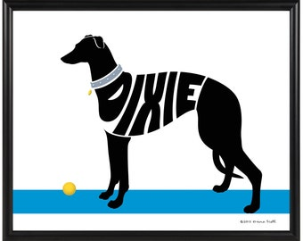 Personalized Greyhound Silhouette Print, Framed Greyhound Art, Resue Dog Gift, Custon Gift for a Dog Lover