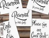 5 Wedding Printables - 8x10 Reserved , Please sign our Guest Book, and Cards and Gifts