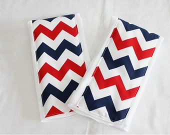 Red White and Blue Chevron Burp Cloths - Set of 2
