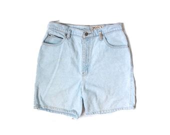 vintage jean shorts 1980s womens clothing denim light blue wash high waisted sasson size 12 medium m