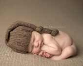 Knit Baby Hat, Long Tailed, Chocolate Brown Knotted Noggin Topper, Newborn Photo Shoot Prop by Cream of the Prop