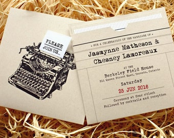 Retro Typewriter Wedding Invitation with insert pocket / recycled kraft paper, date stamp, antique, vintage, fun & chic [DEPOSIT]