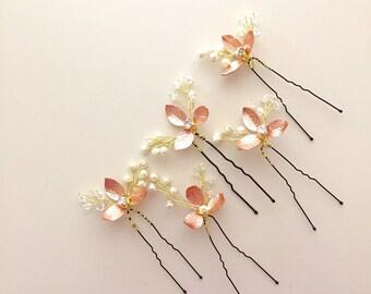 5 Rose Gold hair pins Pearl hair pins bridal hair pins Wedding