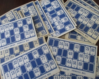 10 Vintage Lotto Cards, blue, 40s, 50s