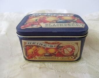 Vintage Heinz's Jelly DECORATIVE TIN - navy blue, fruit, blackberry