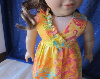 Charity sewing cat beach dress fits 18 inch dolls such as American girl