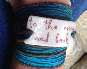 to the moon and back, Personalized Bracelet fused glass wrap bracelet on hand dyed silk ribbon