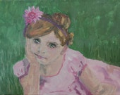 Original Acrylic Painting, E.D.Degenfelder, FlowerGirl No. 7, Small Portrait Series, 9 x 12 Inches,
