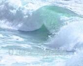 Ocean Waves Photo, Coastal Water Photography, Landscape Print, Aquamarine Sea Green Ocean, Foamy Blue Sea, Beach Art Canvas, Summer Seaside