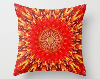 Red Mandala Pillow, Bright Red Hippie Boho Pattern Throw Pillow Cover, Wedding Gift, Cottage Shabby Chic, Loft Cushion Cover, 16x16, 18x18
