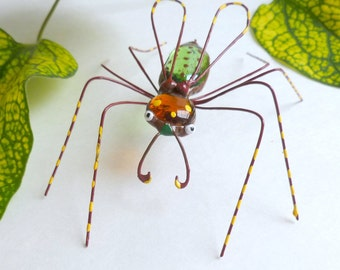 Handmade Large Copper Wire Flying Spider in Fall Colors Unique Spider Ornament Gift for Teens Bug Lover Delightful Bug Mystical Spider