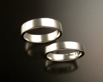 14k White Gold Rectangular Wedding bands His and Hers two ring bright finish rings made to order on your size
