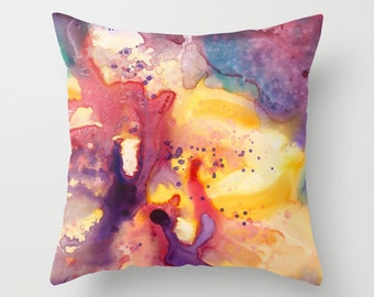 Yellow Orchids Watercolor Throw Pillow Cover