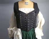 black linen corset laced bodice for pirate gypsy renaissance costume -ready to ship-