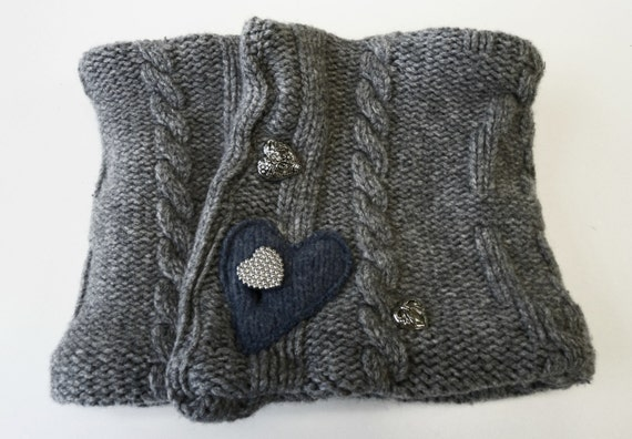 Upcycled Wool Cowl, gray and blue, hearts, OOAK
