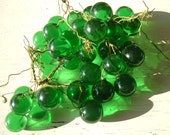 REDUCED 37 Large Green Grapes Plastic, Lucite, Acrylic, Resin with Stems, 1-1/2 and 1-3/4 Inches