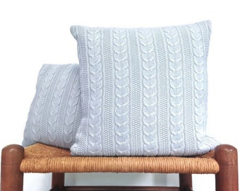 Blue Knit Cables Sweater Pillow Up Cycled Sweater Set of 2 Cushion Covers Cotton Knit 12 Inch 16 Inch Pillow Covers Washable