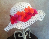 Tropical Flower Hat for Girls - Tea Party Hat - Girls Church Hats
