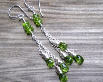 Peridot Cascade Earrings, Sterling Silver Chain, Green Stone Cluster, Peridot Jewelry, Chandelier Earrings,  August Birthstone