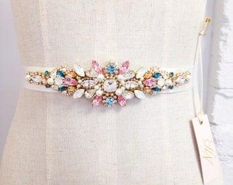 Opal Crystal Bridal Belt- Swarovski Crystal Bridal Sash- Crystal Bridal Belt