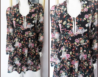 Vtg.70s Black Floral Sheer Chiffon Victorian Long Sleeve Mini Dress with Slip.S.Bust 35.Waist 26.